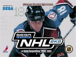 Title screen of NHL 2K2 on the Sega Dreamcast.