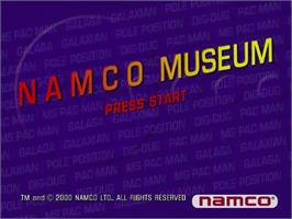 Title screen of Namco Museum on the Sega Dreamcast.