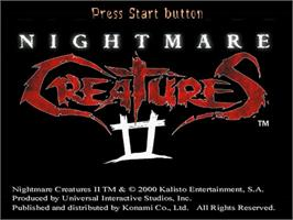 Title screen of Nightmare Creatures 2 on the Sega Dreamcast.