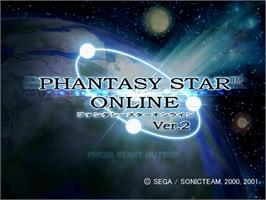 Title screen of Phantasy Star Online Ver. 2 on the Sega Dreamcast.