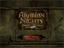 Title screen of Prince of Persia: Arabian Nights on the Sega Dreamcast.