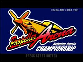 Title screen of Propeller Arena - Aviation Battle Championship on the Sega Dreamcast.