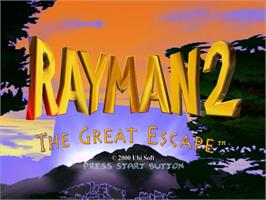 Title screen of Rayman 2: The Great Escape on the Sega Dreamcast.