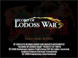 Title screen of Record of Lodoss War on the Sega Dreamcast.