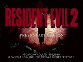 Title screen of Resident Evil 2 on the Sega Dreamcast.
