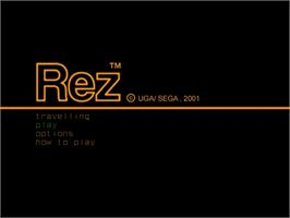 Title screen of Rez on the Sega Dreamcast.