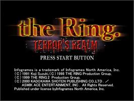 Title screen of Ring: Terror's Realm on the Sega Dreamcast.
