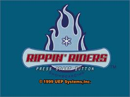 Title screen of Rippin' Riders Snowboarding on the Sega Dreamcast.