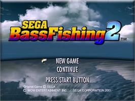 Title screen of Sega Bass Fishing 2 on the Sega Dreamcast.