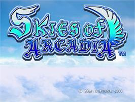 Title screen of Skies of Arcadia on the Sega Dreamcast.