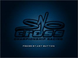 Title screen of Sno-Cross Championship Racing on the Sega Dreamcast.