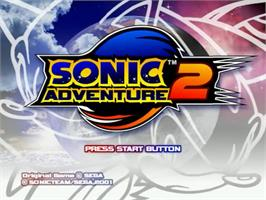 Title screen of Sonic Adventure 2 on the Sega Dreamcast.