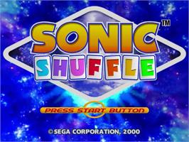 Title screen of Sonic Shuffle on the Sega Dreamcast.