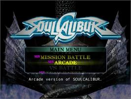 Title screen of Soul Calibur on the Sega Dreamcast.