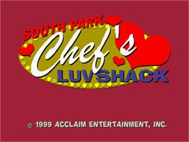 Title screen of South Park: Chef's Luv Shack on the Sega Dreamcast.