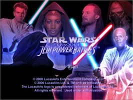 Title screen of Star Wars: Episode I - Jedi Power Battles on the Sega Dreamcast.