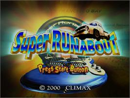 Title screen of Super Runabout: San Francisco Edition on the Sega Dreamcast.
