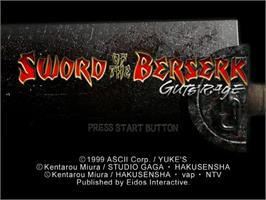 Title screen of Sword of the Berserk: Guts' Rage on the Sega Dreamcast.