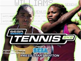 Title screen of Tennis 2K2 on the Sega Dreamcast.