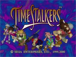 Title screen of Time Stalkers on the Sega Dreamcast.