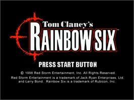 Title screen of Tom Clancy's Rainbow Six on the Sega Dreamcast.