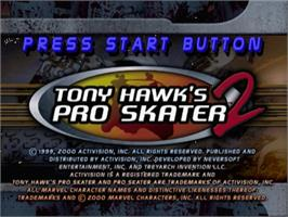 Title screen of Tony Hawk's Pro Skater 2 on the Sega Dreamcast.