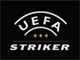 Title screen of UEFA Striker on the Sega Dreamcast.