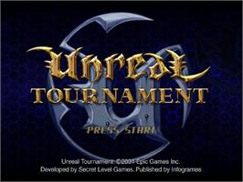 Title screen of Unreal Tournament on the Sega Dreamcast.