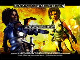Title screen of Urban Chaos on the Sega Dreamcast.