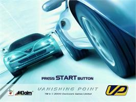 Title screen of Vanishing Point on the Sega Dreamcast.