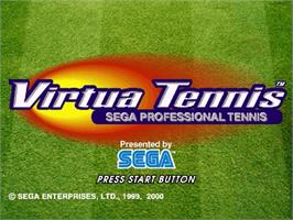 Title screen of Virtua Tennis on the Sega Dreamcast.