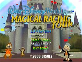 Title screen of Walt Disney World Quest: Magical Racing Tour on the Sega Dreamcast.