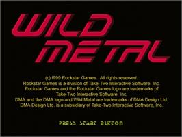 Title screen of Wild Metal on the Sega Dreamcast.