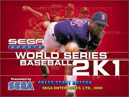 Title screen of World Series Baseball 2K1 on the Sega Dreamcast.