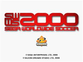 Title screen of Worldwide Soccer 2000: Euro Edition on the Sega Dreamcast.