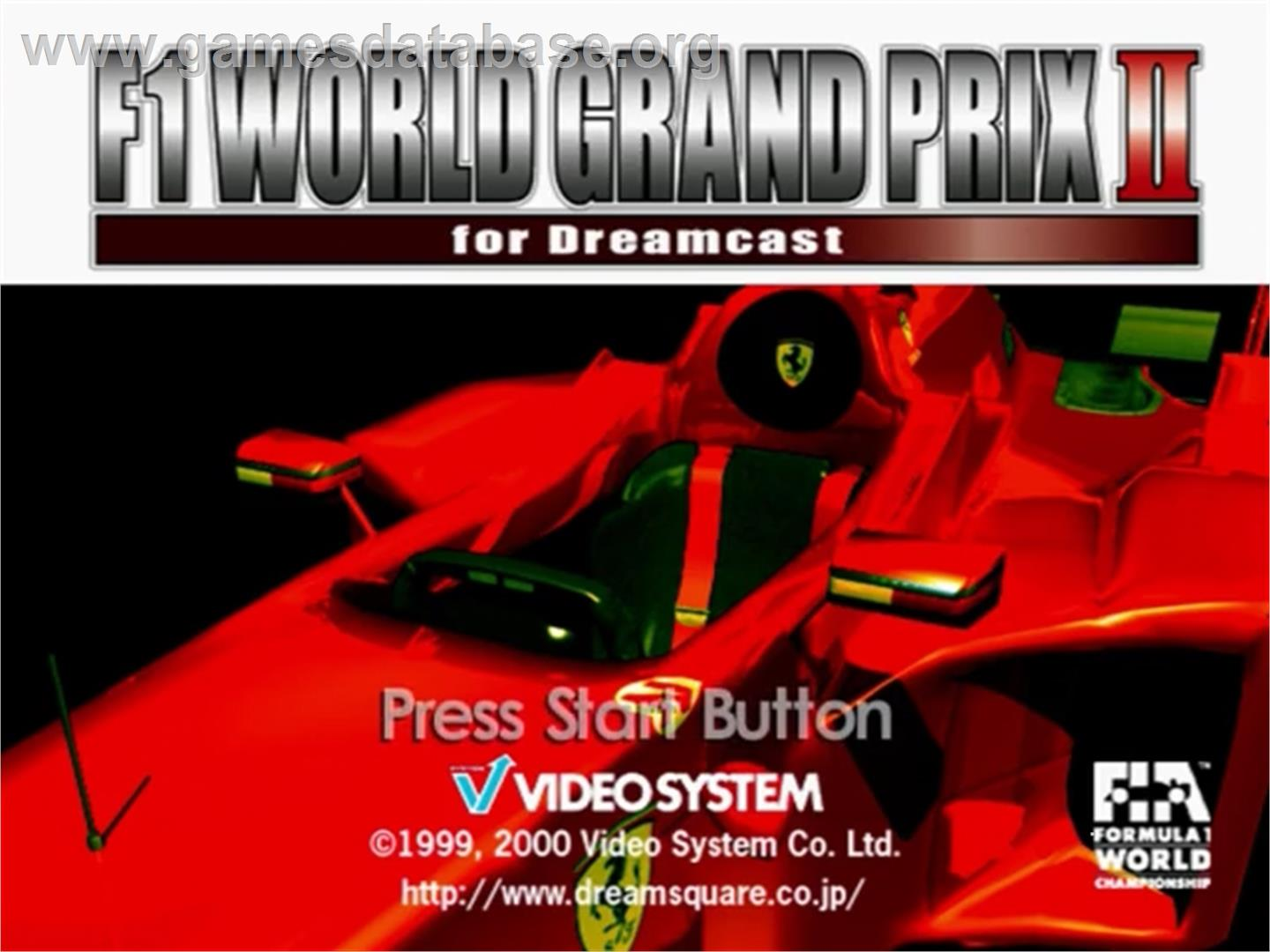Title screen of F1 World Grand Prix 2 on the Sega Dreamcast.