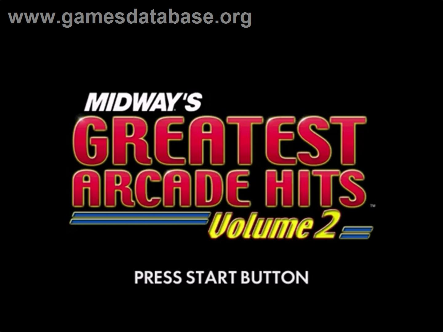 Midway's Greatest Arcade Hits 2 - Sega Dreamcast - Artwork - Title Screen