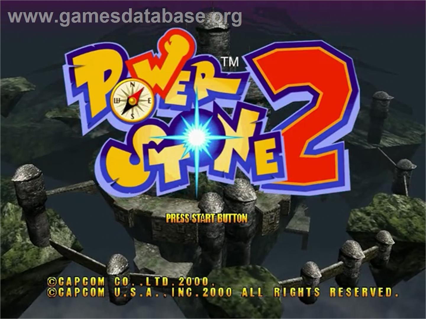Title screen of Power Stone 2 on the Sega Dreamcast.
