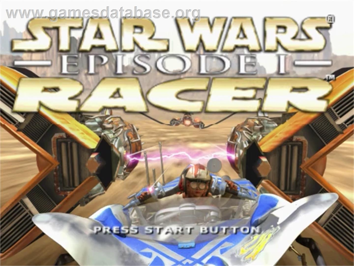 Title screen of Star Wars: Episode I - Racer on the Sega Dreamcast.