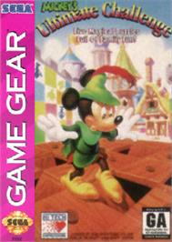 Box cover for Mickey's Ultimate Challenge on the Sega Game Gear.