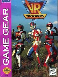 Box cover for Saban's VR Troopers on the Sega Game Gear.