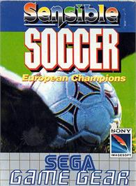Box cover for Sensible Soccer: European Champions: 92/93 Edition on the Sega Game Gear.