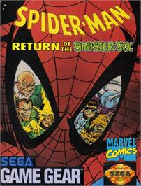 Box cover for Spider-Man: Return of the Sinister Six on the Sega Game Gear.