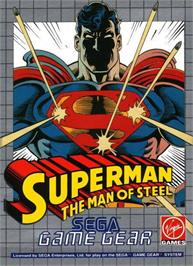 Box cover for Superman: The Man of Steel on the Sega Game Gear.