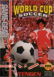 Box cover for Tengen World Cup Soccer on the Sega Game Gear.