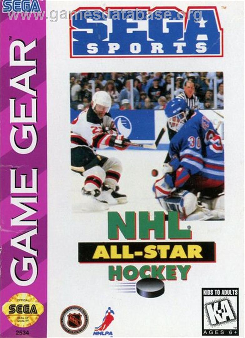 Box cover for NHL All-Star Hockey on the Sega Game Gear.