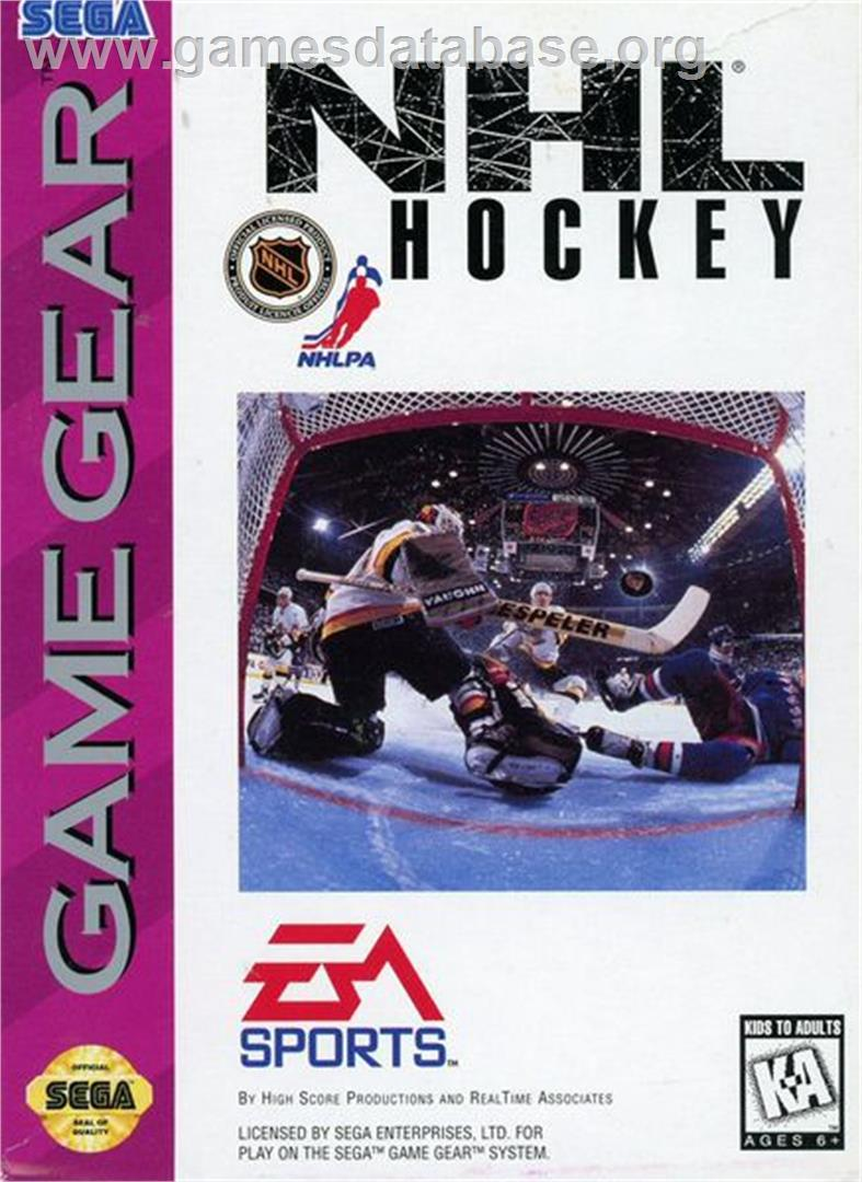 Box cover for NHL Hockey on the Sega Game Gear.
