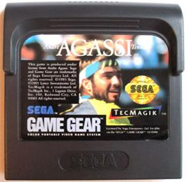 Cartridge artwork for Andre Agassi Tennis on the Sega Game Gear.