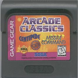 Cartridge artwork for Arcade Classics on the Sega Game Gear.