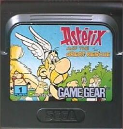 Cartridge artwork for Astérix and the Great Rescue on the Sega Game Gear.